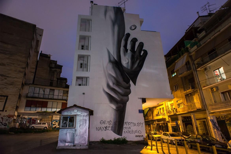 Un murales nel quartiere ateniese di Exarchia