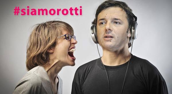 Un'immagine della campagna su twitter #siamorotti