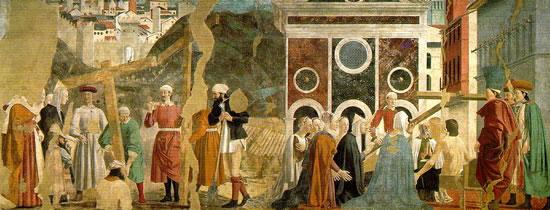 Piero della Francesca, «La verifica della croce», particolare del ciclo di affreschi in san Francesco, Arezzo