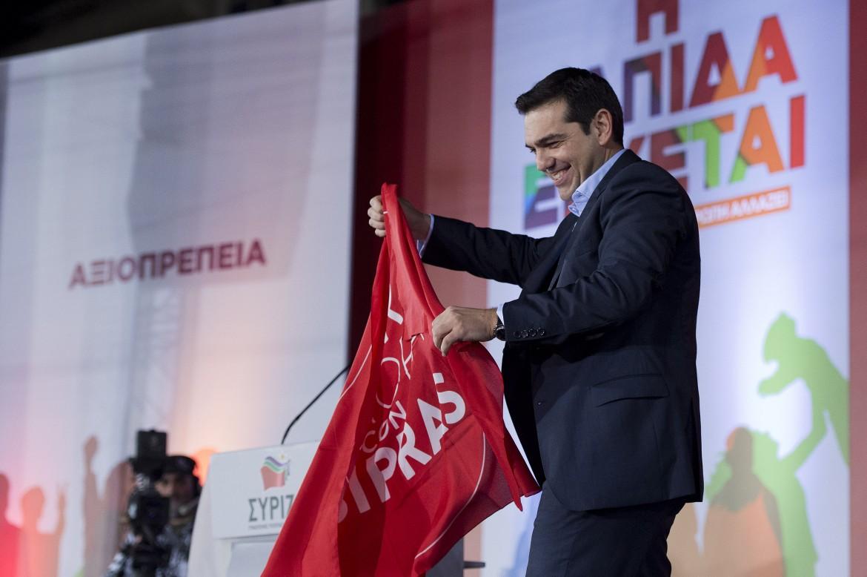 Alexis Tsipras al comizio della vittoria ad Atene