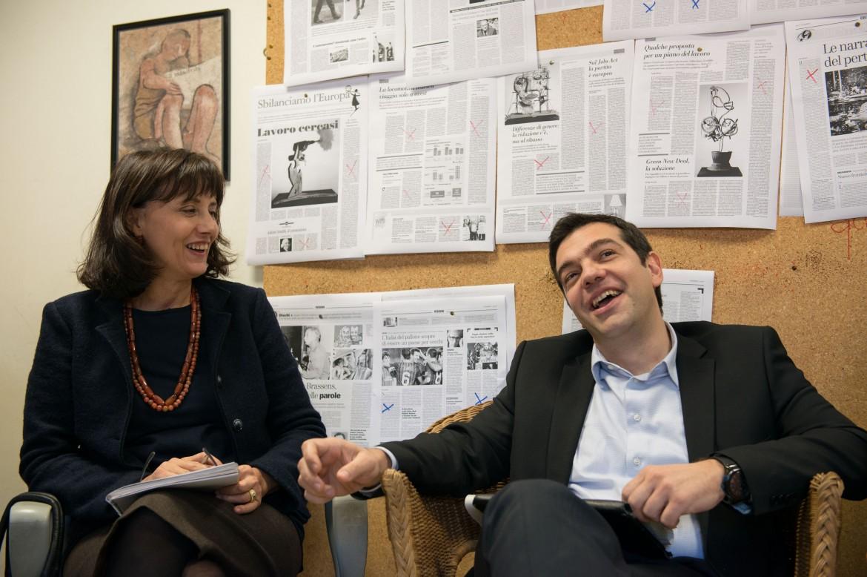 Norma Rangeri e Alexis Tsipras in redazione febbraio 2014