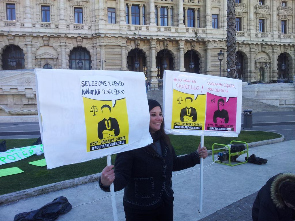 Un'immagine dallo speakers' corner di ieri a Roma