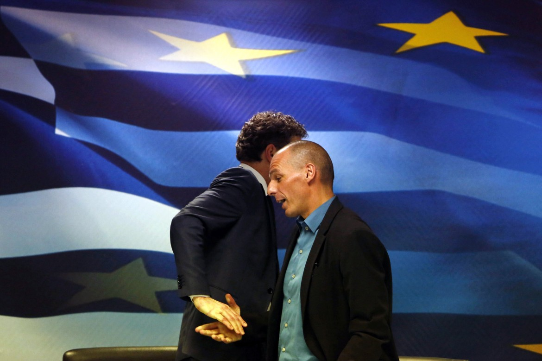 Dijsselbloem e Varoufakis al termine della prima conferenza stampa congiunta