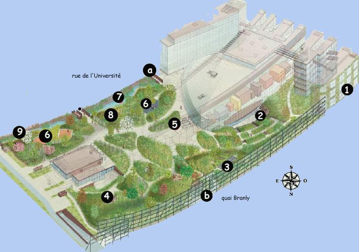 Pianta del giardino del museo Quai du Branly