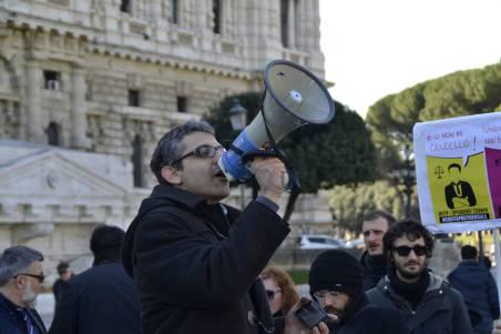 Un'immagine dallo speakers' corner del 27 febbraio a Roma