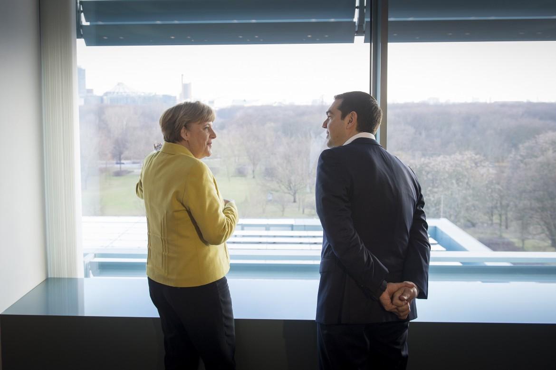 Tsipras e Merkel alla Cancelleria di Berlino