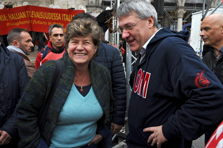 I segretari Susanna Camusso (Cgil) e Maurizio Landini (Fiom)