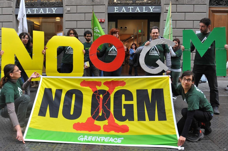 Una protesta contro gli ogm