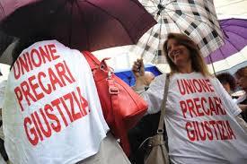 Una manifestazione di protesta dei precari della giustizia