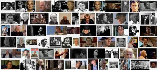 """Un collage di primi piani di Lou Castel, protagonista di """"Mechanismo"""" (dal sito taxidrivers.it)"""