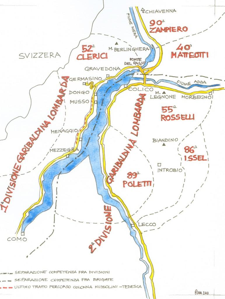 Figura 3a - Schema della distribuzione in zone di competenza delle Brigate Partigiane intorno al Lago di Como, al 25 aprile 1945. Cortesia di Pierfranco Mastalli.
