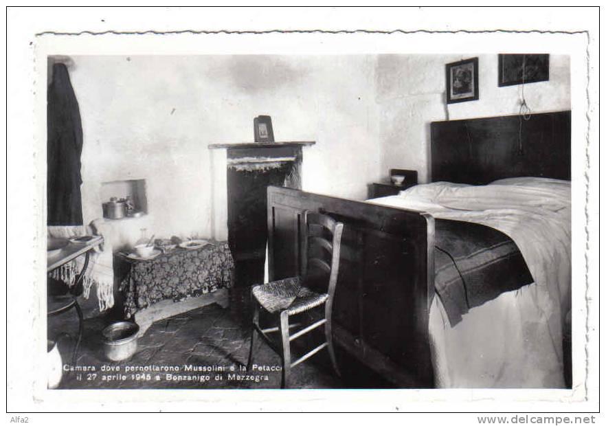 La camera di Casa De Maria dove Mussolini e Petacci pernottarono la notte fra il 27 e il 28 aprile.