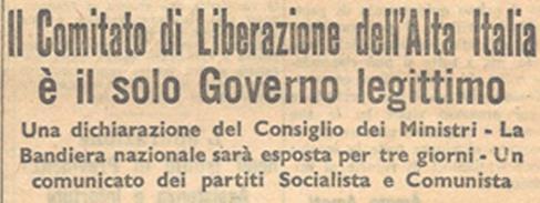 """Prima pagina del """"Corriere del Mattino"""" del 26 aprile 1945"""