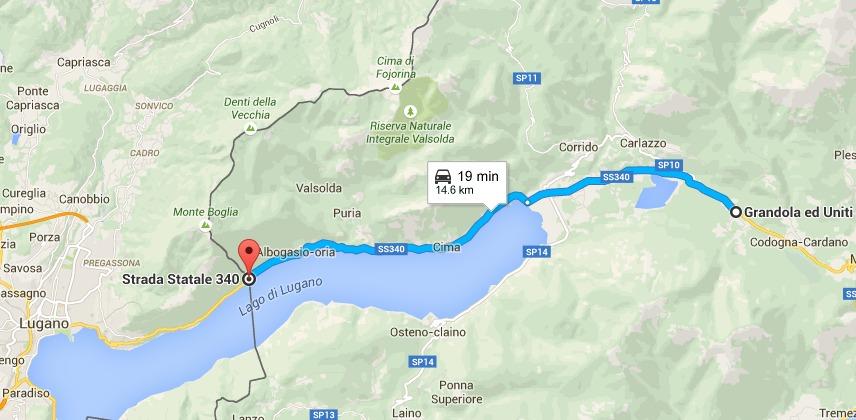 Il probabile progettato percorso della fuga in Svizzera di MUssolini, 27 aprile 1945. Giunge a soli 15 km dal confine. I tempi di percorrenza non sono esatti, essendo quelli del 2015