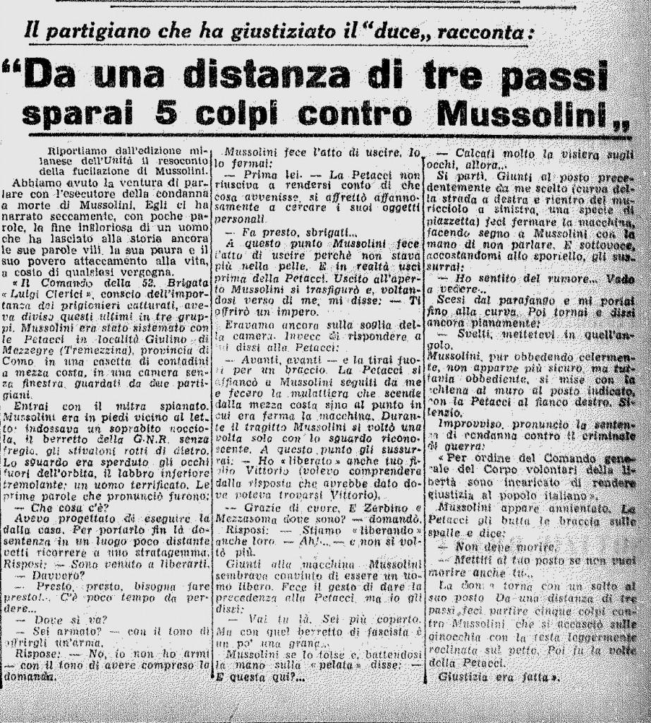 Il primo resoconto di Walter Audiso, ancora anonimo, sulla prima pagina dell'Unità del 1 maggio 1945