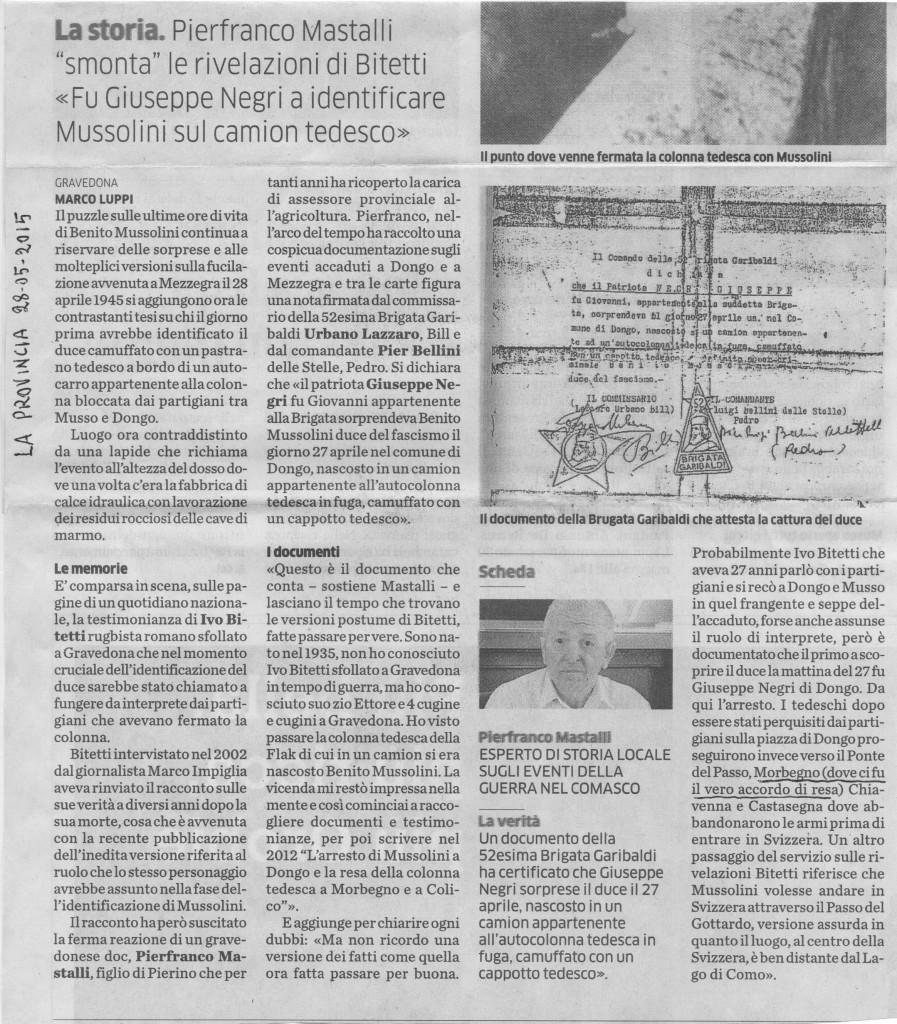 """Mussolini fu riconosciuto da Giuseppe Negri. Articolo di Marco Luppi per """"La Provincia"""", 28 maggio 2015. Cortesia di Pierfranco Mastalli."""