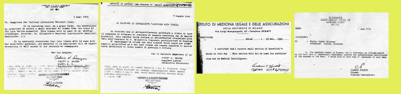 Documenti riguardanti l'autopsia di Mussolini, in particolare la richiesta da parte degli USA di un campione del cervello.
