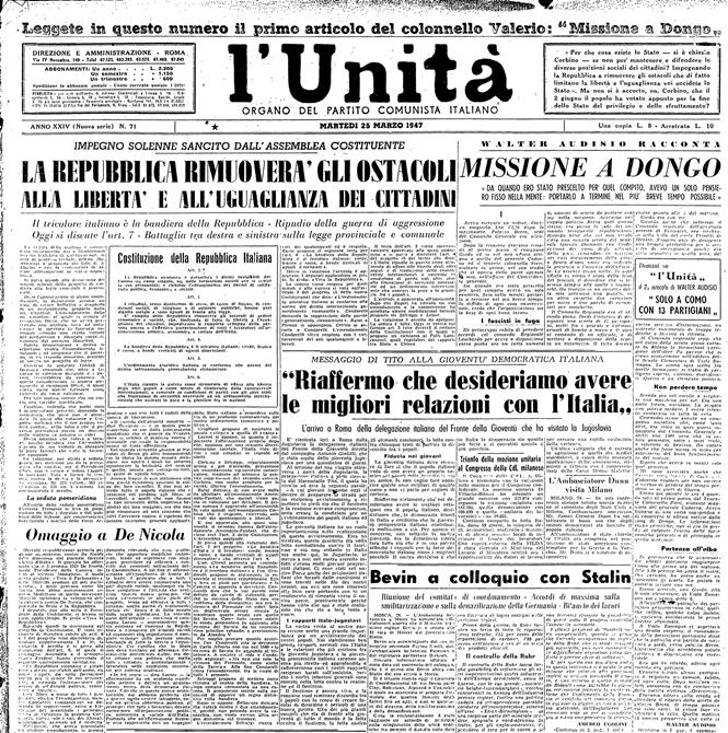 Fig. 40 - Prima pagina dell'Unità, 25 marzo 1947