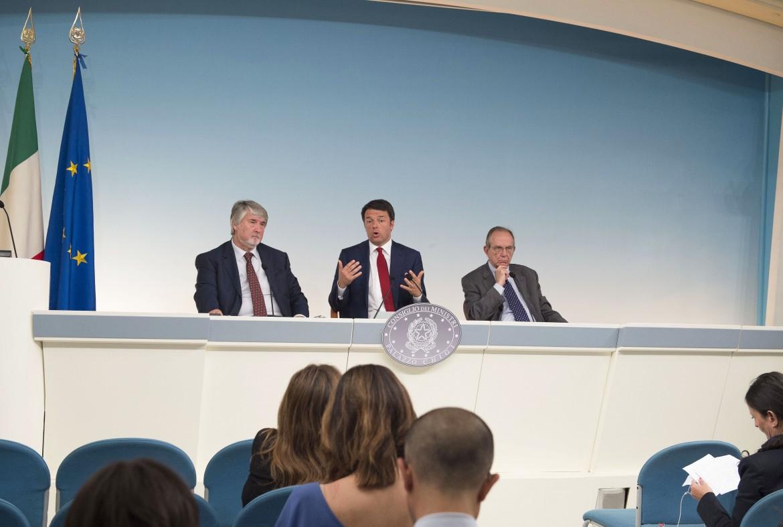 Una immagine della conferenza stampa seguita al consiglio dei ministri sulle pensioni