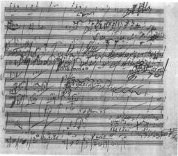 I primi 10 secondi della %a di Beethoven – partitura per i primi 8 strumenti.