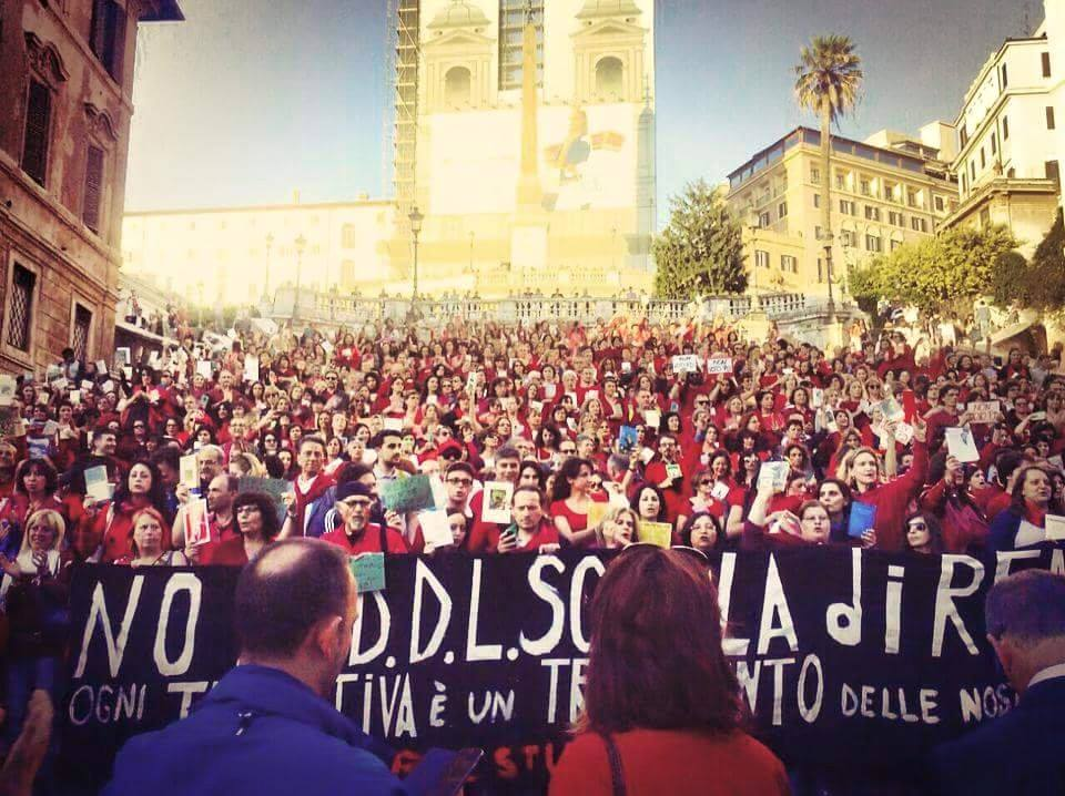 Ieri a Piazza di Spagna contro la riforma Renzi della scuola