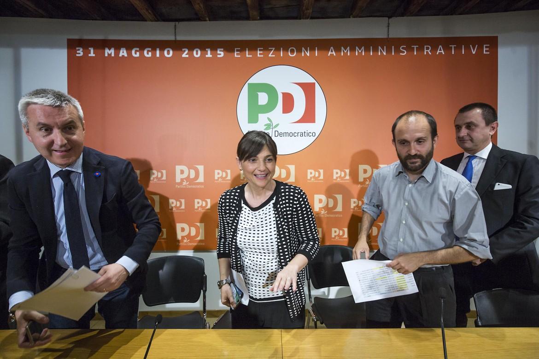 La conferenza stampa di ieri nella sede del Pd