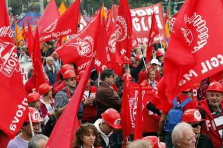 Uno sciopero di metalmeccanici