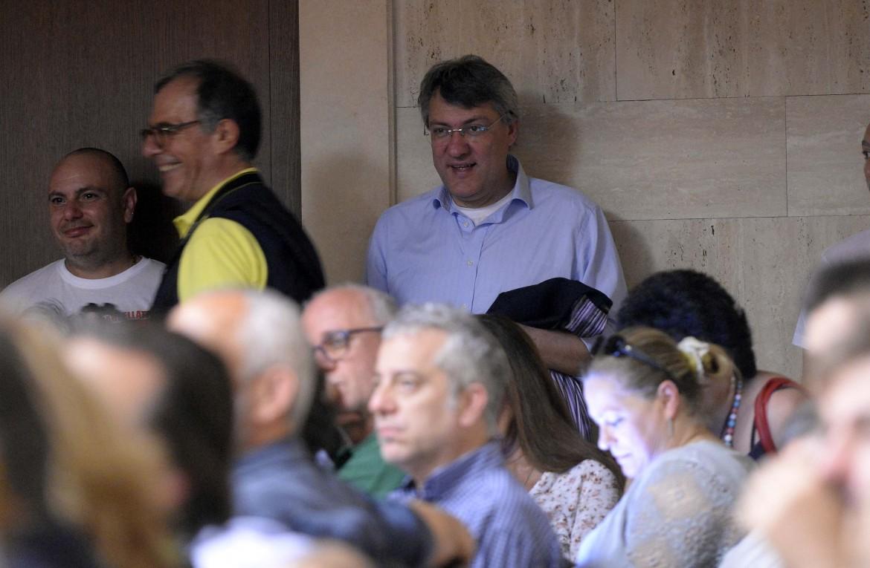Maurizio Landini all'iniziativa di via dei Frentani