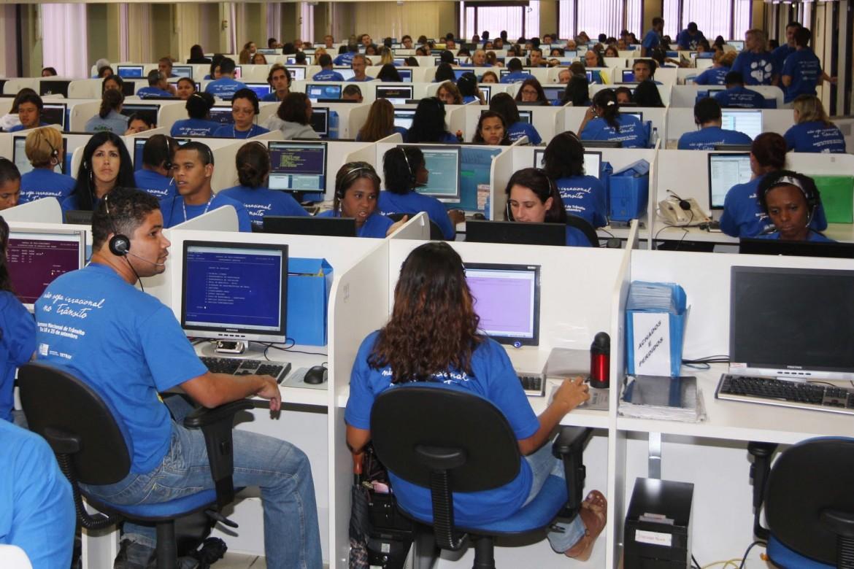 Lavoratori in un call center