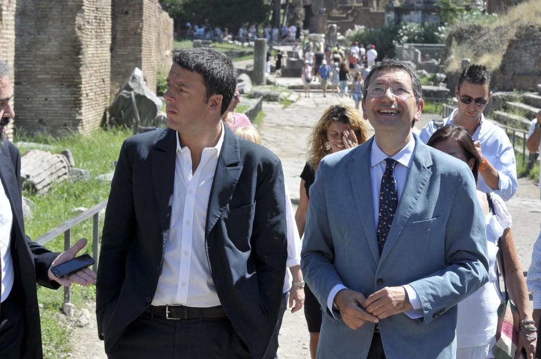 Renzi e Marino ai Fori nel giugno scorso