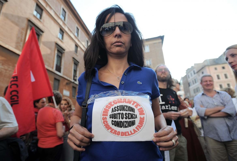 La protesta No ddl Scuola ieri a Roma