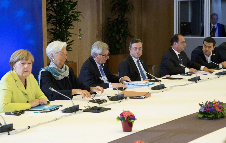 Merkel, Lagarde, Juncker, Draghi, Hollande e Tsipras il 22 giugno scorso a Bruxelles