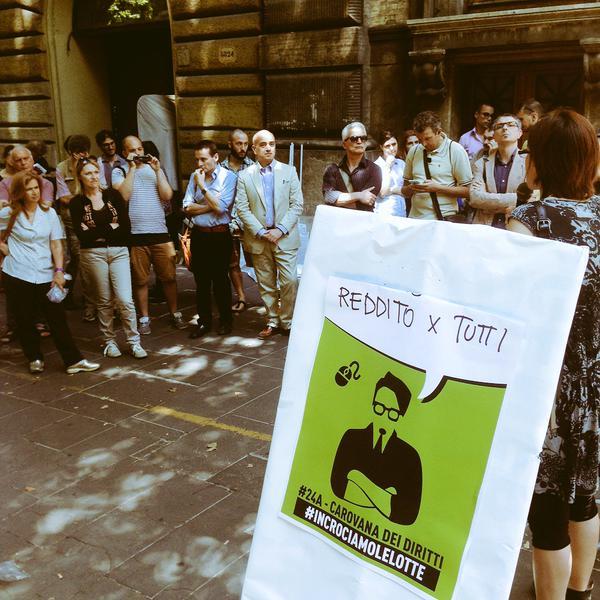 Roma, un'immagine dallo speakers' corner al ministero del lavoro