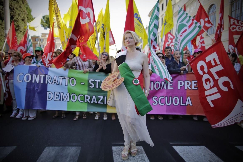 In corteo contro il Ddl Scuola ieri a Roma