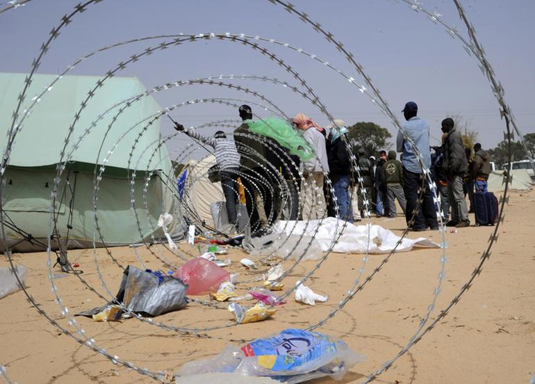Rifugiati nel campo di Choucha