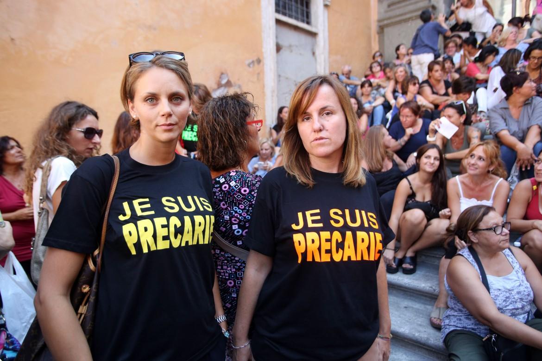 A una manifestazione delle maestre romane in Campidoglio a Roma, settembre 2015