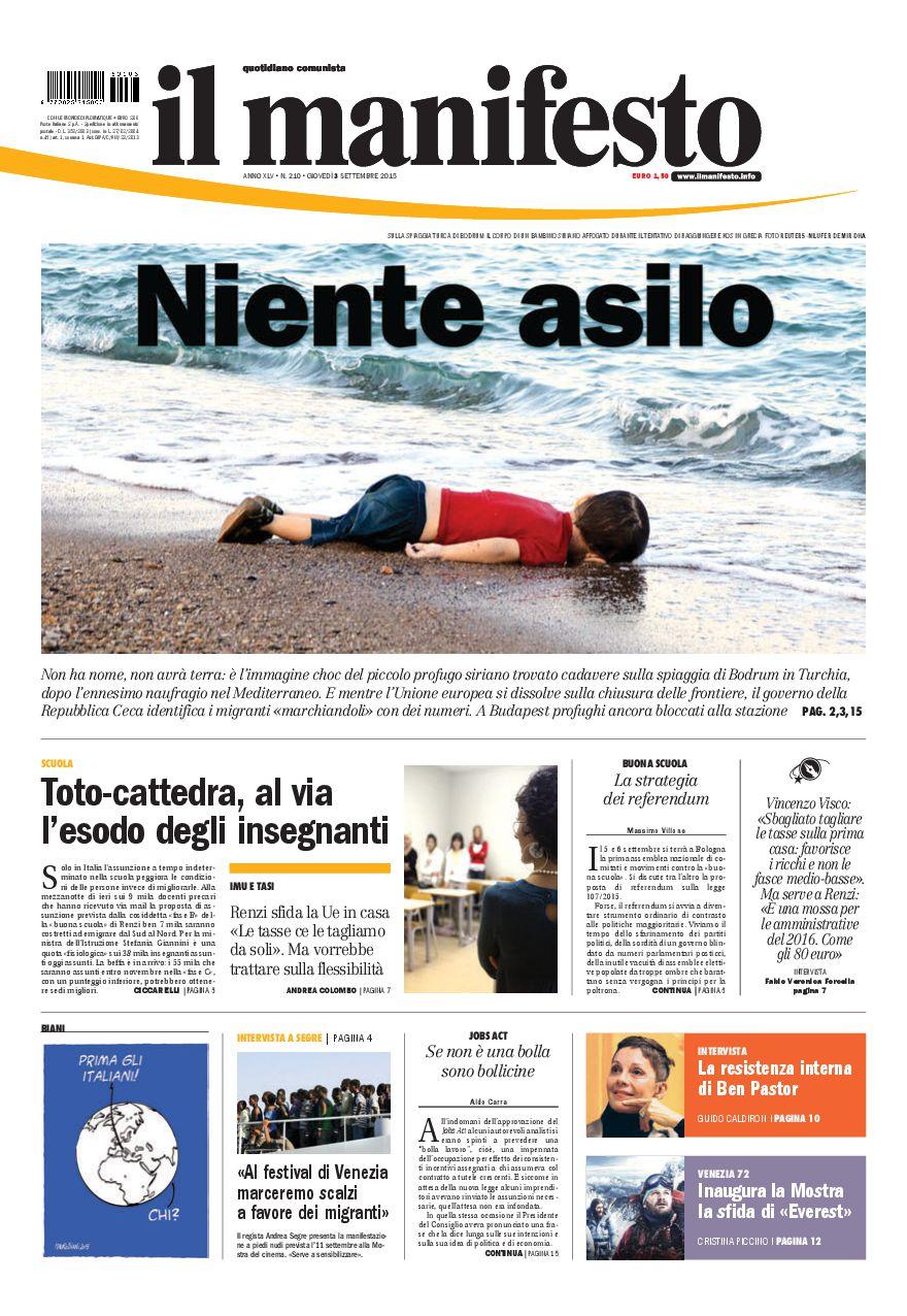 La prima pagina del 3 settembre 2015