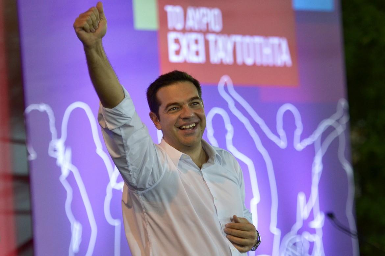 Alexis Tsipras nel comizio di chiusura della campagna elettorale