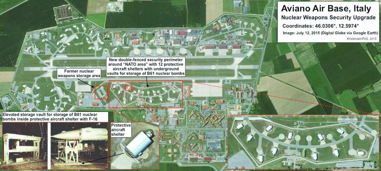 Foto satellitare dell'upgrade della base di Aviano, 12 luglio 2015