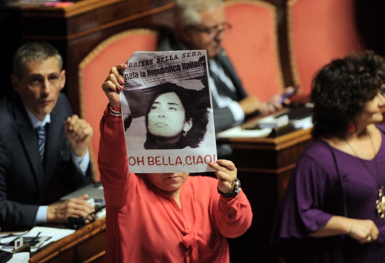 Protesta M5S in senato
