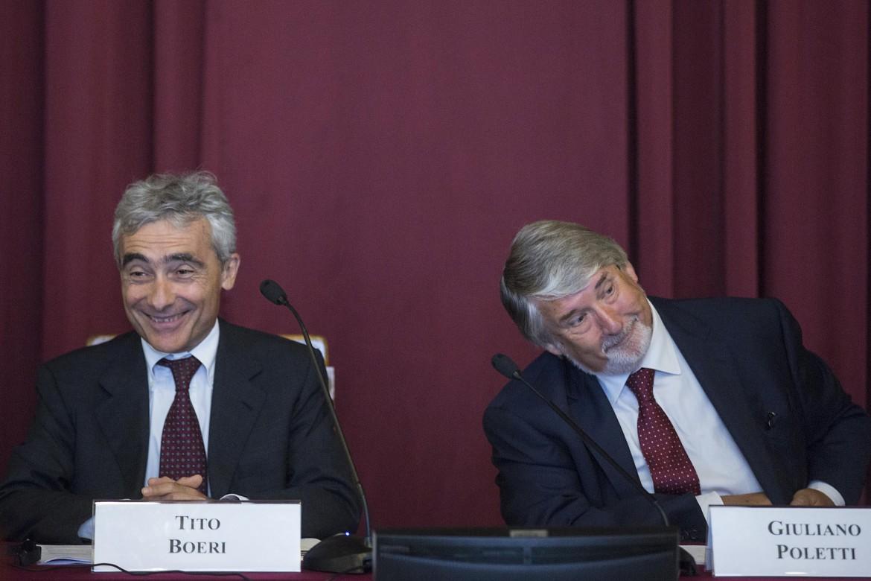 Il presidente dell'Inps Tito Boeri insieme al ministro del Lavoro Giuliano Poletti