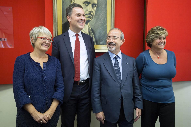 Annamaria Furlan, Carmelo Barbagallo e Susanna Camusso hanno presentato ieri a Roma, nella sede Uil, il neo segretario della Ces Luca Visentini (il secondo da sinistra)