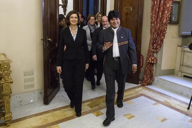 Evo Morales con la presidente della Camera Laura Boldrini