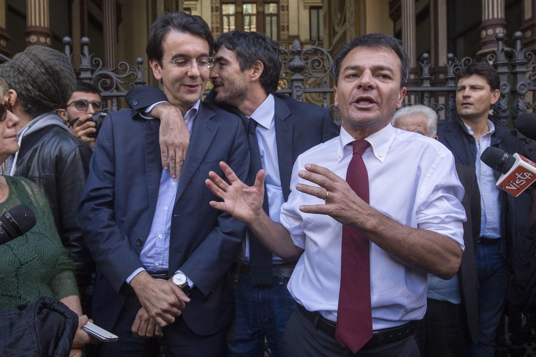 Stefano Fassina con Alfredo D'Attorre e Nicola Fratoianni,  deputati di Sinistra italiana