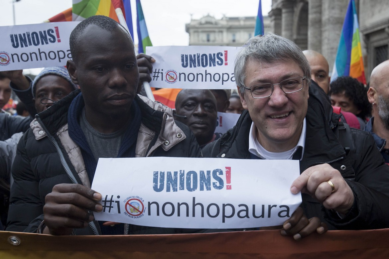 Manifestazione Fiom - Cgil per il rinnovo del contratto di lavoro, nella foto Maurizio Landini