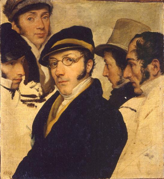 Autoritratto in un gruppo di amici, 1827