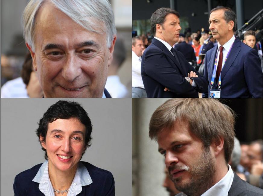 Dall'alto in senso orario: Pisapia, Sala con Renzi, Majorino e Balzani