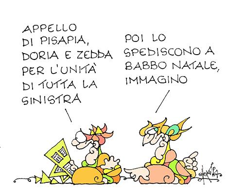 La vignetta di Ellekappa pubblicata ieri su Repubblica accanto la lettera di Pisapia, Doria e Zedda