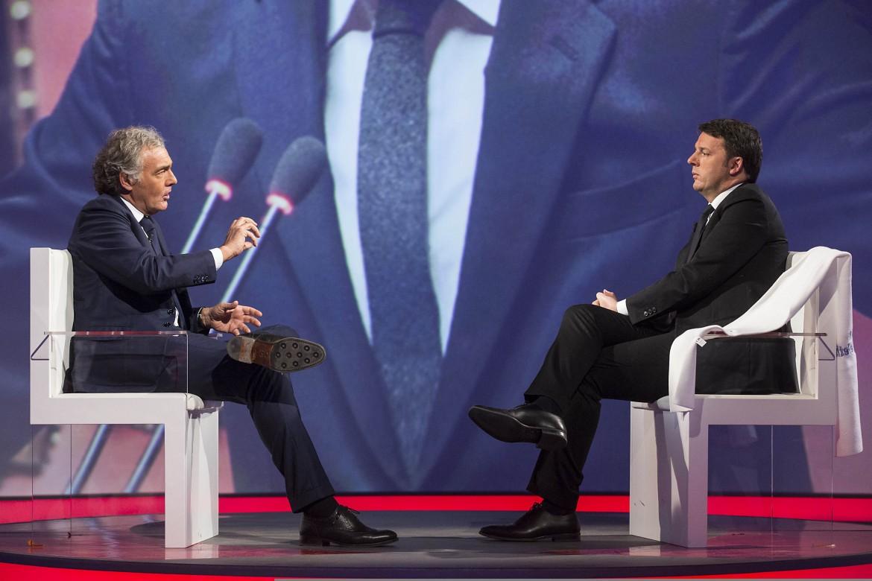 Massimo Giletti e Matteo Renzi  nel programma tv