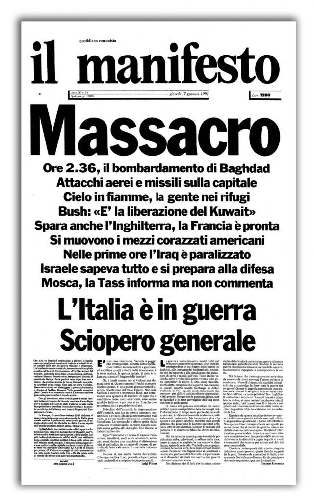 La prima pagina del manifesto del 17 gennaio 1991